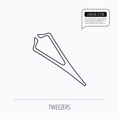 tweezer: Medical tweezers icon. Cosmetic equipment sign. Linear outline icon. Speech bubble of dotted line. Vector
