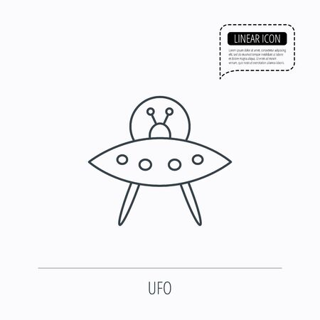 UFO icon. Unknown flying object sign. Martians symbol. Linear outline icon. Speech bubble of dotted line. Vector