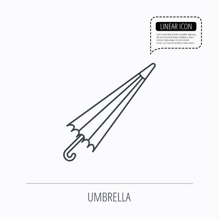 resistant: Umbrella icon. Water protection sign. Rainy weather symbol. Linear outline icon. Speech bubble of dotted line. Vector