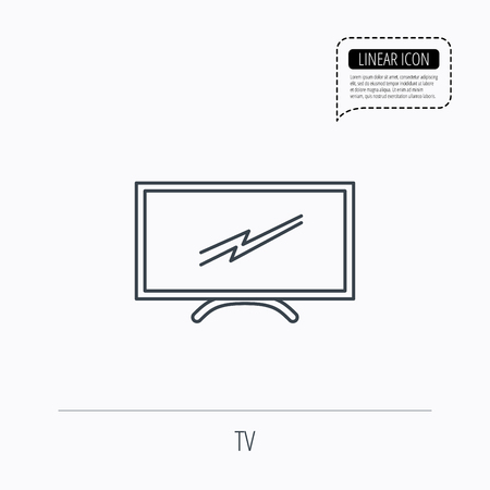lcd tv: Lcd tv icon. Led monitor sign. Widescreen display symbol. Linear outline icon. Speech bubble of dotted line. Vector
