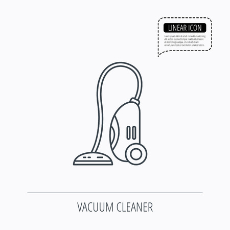 housework: Vacuum cleaner icon. Housework device sign. Linear outline icon. Speech bubble of dotted line. Vector