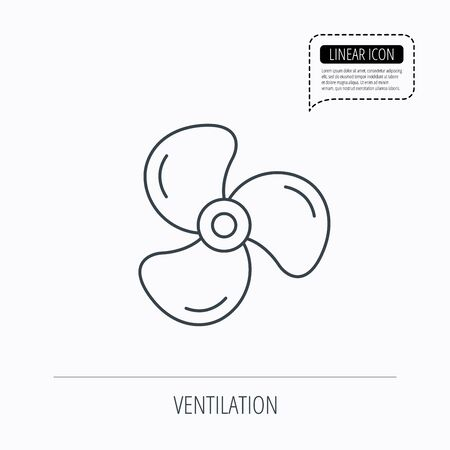 airflow: Ventilation icon. Fan or propeller sign. Linear outline icon. Speech bubble of dotted line. Vector