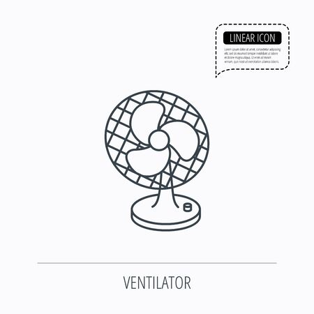 ventilator: Ventilator icon. Fan or propeller sign. Linear outline icon. Speech bubble of dotted line. Vector