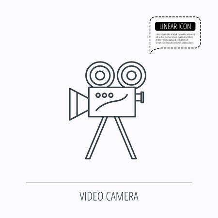 past production: Video camera with reel icon. Retro cinema sign. Linear outline icon. Speech bubble of dotted line. Vector
