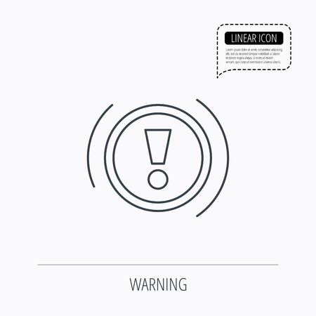 dashboard: Warning icon. Dashboard attention sign. Caution exclamation mark symbol. Linear outline icon. Speech bubble of dotted line. Vector