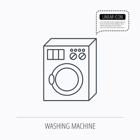 washer machine: Washing machine icon. Washer sign. Linear outline icon. Speech bubble of dotted line. Vector