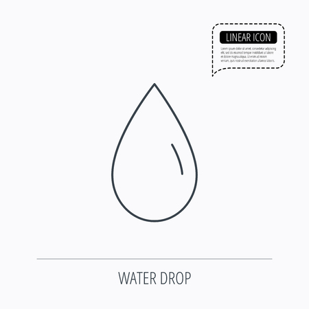 freshness: Water drop icon. Liquid sign. Freshness, condensation or washing symbol. Linear outline icon. Speech bubble of dotted line. Vector