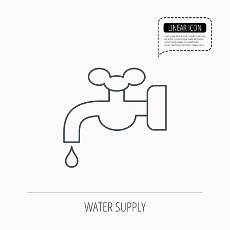 waterworks: Water supply icon. Crane or Faucet with drop sign. Linear outline icon. Speech bubble of dotted line. Vector