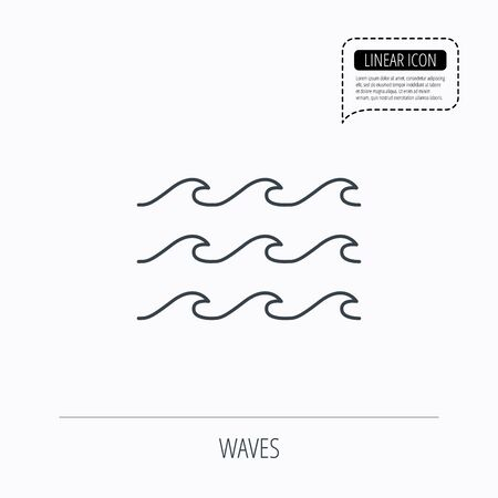 sea water: Waves icon. Sea flowing sign. Water symbol. Linear outline icon. Speech bubble of dotted line. Vector Illustration