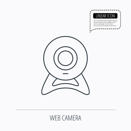 web cam: Web cam icon. Video camera sign. Online communication symbol. Linear outline icon. Speech bubble of dotted line. Vector Illustration