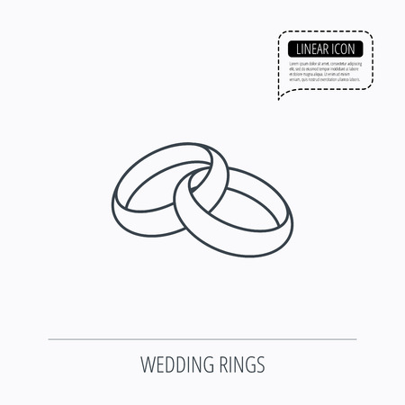 jewelery: Wedding rings icon. Bride and groom jewelery sign. Linear outline icon. Speech bubble of dotted line. Vector Illustration