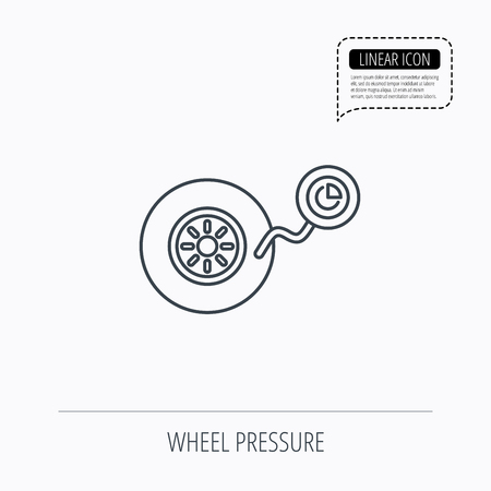flaring: Wheel pressure icon. Tire service sign. Linear outline icon. Speech bubble of dotted line. Vector