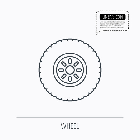 flaring: Car wheel icon. Tire service sign. Linear outline icon. Speech bubble of dotted line. Vector