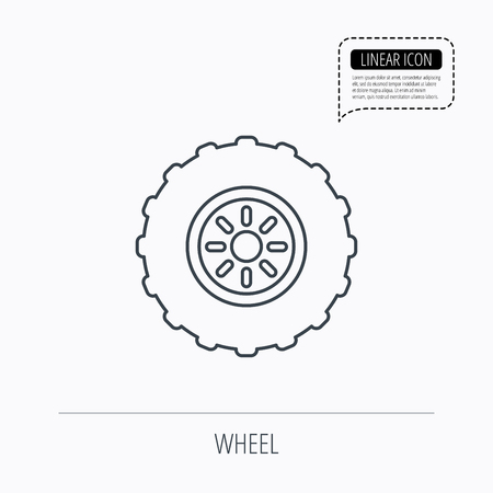 flaring: Tractor wheel icon. Tire service sign. Linear outline icon. Speech bubble of dotted line. Vector