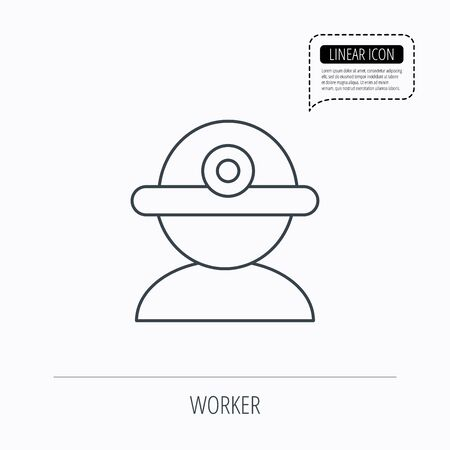 industrialist: Worker icon. Engineering helmet sign. Linear outline icon. Speech bubble of dotted line. Vector