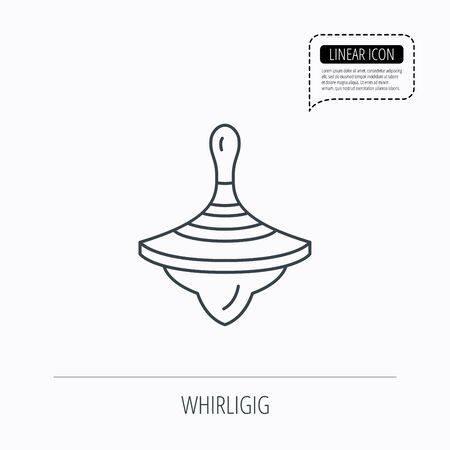 spinning top: Whirligig icon. Baby toy sign. Spinning top symbol. Linear outline icon. Speech bubble of dotted line. Vector