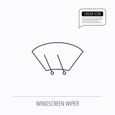 Windscreen wipers icon. Windshield sign. Linear outline icon. Speech bubble of dotted line. Vector