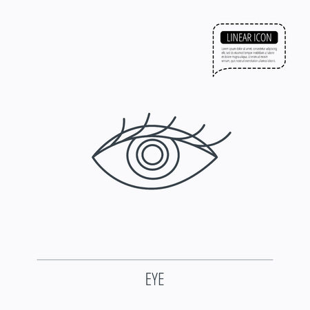 ophthalmology: Eye icon. Human vision sign. Ophthalmology symbol. Linear outline icon. Speech bubble of dotted line. Vector Illustration