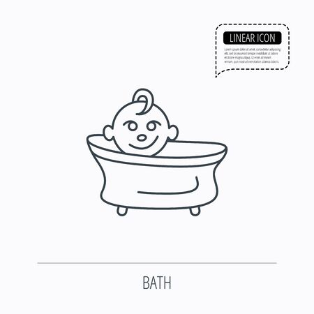 tot: Baby in bath icon. Toddler bathing sign. Newborn washing symbol. Linear outline icon. Speech bubble of dotted line. Vector Illustration