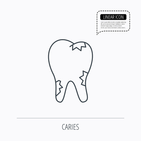 paradontosis: Caries icon. Tooth health sign. Linear outline icon. Speech bubble of dotted line. Vector