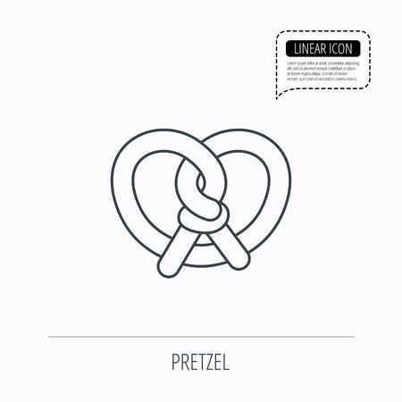 Pretzel icon. Bakery food sign. Traditional bavaria snack symbol. Linear outline icon. Speech bubble of dotted line. Vector Illustration