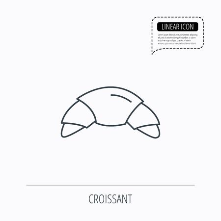 french bakery: Croissant icon. Bread bun sign. Traditional french bakery symbol. Linear outline icon. Speech bubble of dotted line. Vector Illustration