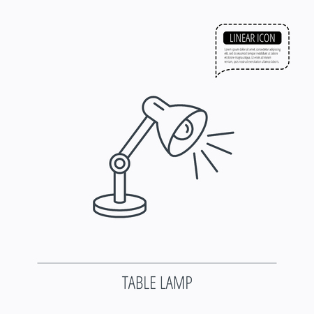 desk light: Table lamp icon. Desk light sign. Linear outline icon. Speech bubble of dotted line. Vector