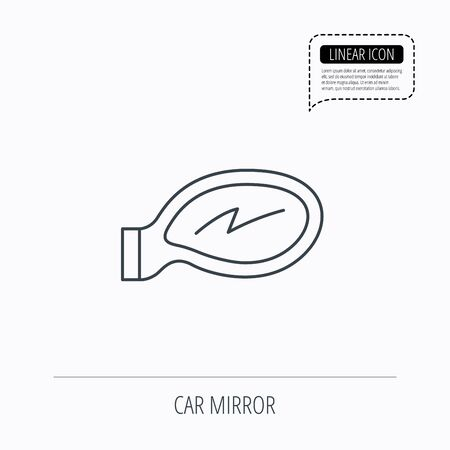 driveway: Car mirror icon. Driveway side view sign. Linear outline icon. Speech bubble of dotted line. Vector Illustration