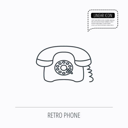 old phone: Retro phone icon. Old telephone sign. Linear outline icon. Speech bubble of dotted line. Vector Illustration