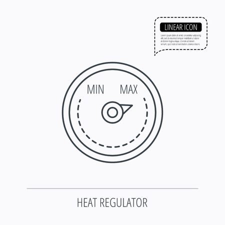 regulator: Heat regulator icon. Radiator thermometer sign. Linear outline icon. Speech bubble of dotted line. Vector