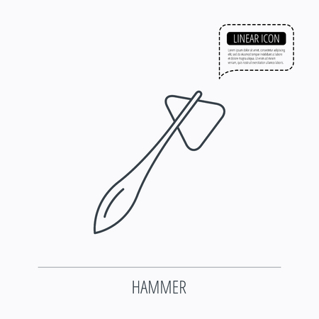 reflex: Reflex hammer icon. Doctor medical equipment sign. Nervous therapy tool symbol. Linear outline icon. Speech bubble of dotted line. Vector Illustration