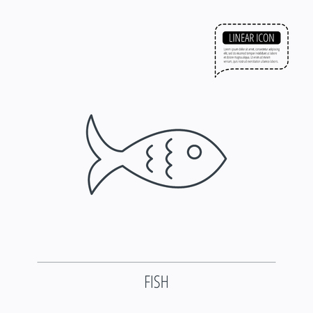 aquaculture: Fish icon. Seafood sign. Vegetarian food symbol. Linear outline icon. Speech bubble of dotted line. Vector