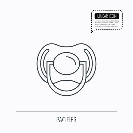 comforter: Pacifier icon. Nipple or dummy sign. Newborn child relax equipment symbol. Linear outline icon. Speech bubble of dotted line. Vector Illustration