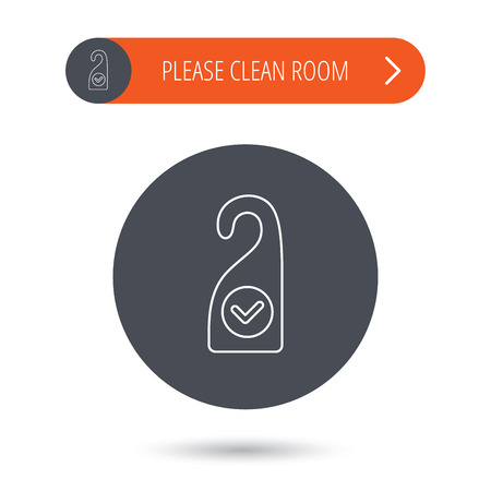 maid service: Clean room icon. Hotel door hanger sign. Maid service symbol. Gray flat circle button. Orange button with arrow. Vector