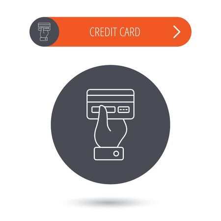 cashless: Credit card icon. Giving hand sign. Cashless paying or buying symbol. Gray flat circle button. Orange button with arrow. Vector