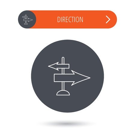 travel guide: Direction arrows icon. Destination way sign. Travel guide symbol. Gray flat circle button. Orange button with arrow. Vector Illustration