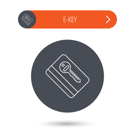 room card: Electronic key icon. Hotel room card sign. Unlock chip symbol. Gray flat circle button. Orange button with arrow. Vector