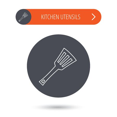scrape: Kitchen utensil icon. Kitchenware spatula sign. Cooking tool symbol. Gray flat circle button. Orange button with arrow. Vector Illustration