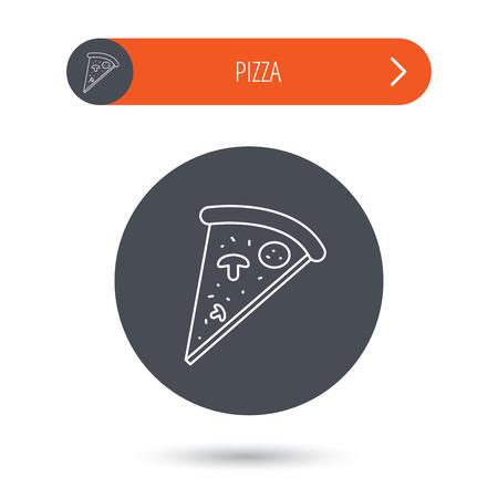 bake: Pizza icon. Piece of Italian bake sign. Gray flat circle button. Orange button with arrow. Vector