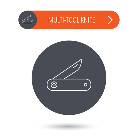 knive: Multitool knife icon. Multifunction tool sign. Hiking equipment symbol. Gray flat circle button. Orange button with arrow. Vector