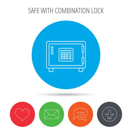 combination safe: Safe icon. Money deposit sign. Combination lock symbol. Mail, download and speech bubble buttons. Like symbol. Vector Illustration