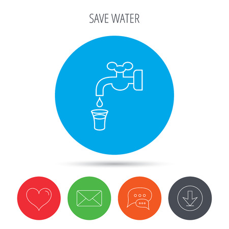 waterworks: Save water icon. Crane or Faucet with drop sign. Mail, download and speech bubble buttons. Like symbol. Vector