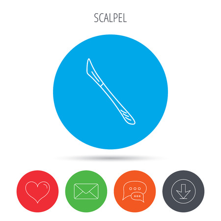 Scalpel icon. Surgeon tool sign. Mail, download and speech bubble buttons. Like symbol. Vector