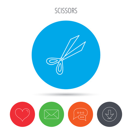 secateurs: Gardening scissors icon. Secateurs tool sign symbol. Mail, download and speech bubble buttons. Like symbol. Vector