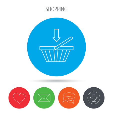 dealings: Shopping cart icon. Online buying sign. Mail, download and speech bubble buttons. Like symbol. Vector