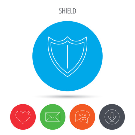 royal mail: Shield icon. Protection sign. Royal defence symbol. Mail, download and speech bubble buttons. Like symbol. Vector