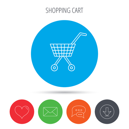 dealings: Shopping cart icon. Market buying sign. Mail, download and speech bubble buttons. Like symbol. Vector Illustration