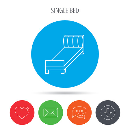 chat room: Single bed icon. Bedroom furniture sign. Mail, download and speech bubble buttons. Like symbol. Vector