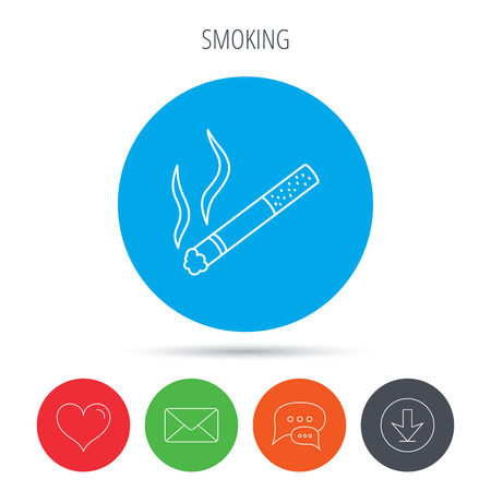 smoking place: Smoking allowed icon. Yes smoke sign. Mail, download and speech bubble buttons. Like symbol. Vector