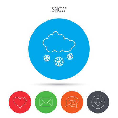 overcast: Snow icon. Snowflakes with cloud sign. Snowy overcast symbol. Mail, download and speech bubble buttons. Like symbol. Vector